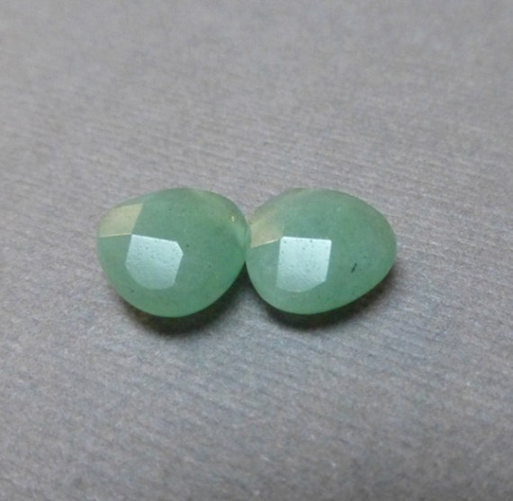 Green Aventurine Teardrop Beads. Gemstone Beads. Broilettes. Faceted. Irish. St Patricks. 10mm-12mm. One Pair (2 beads)