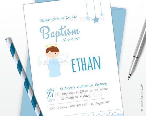 Baptism invitation blue angel party christening invitation il570xn stopboris Image collections