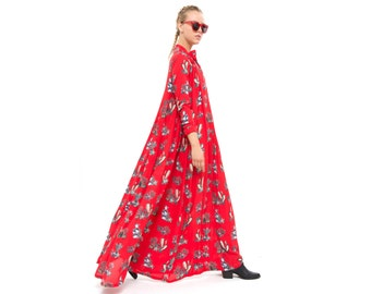 Red Maxi Dress, Cactus print, long Sleeve Dress, Winter Fashion, Oversized - Loose - Trendy, Elegant and Chic
