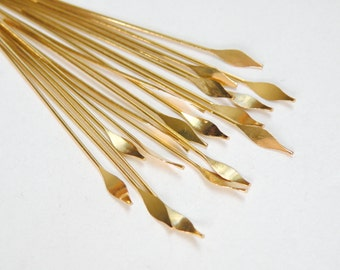 """50 Head Pins with pointed spear head 2"""" gold plated brass 22 gauge A5558FN"""
