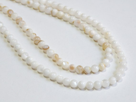 White Mother of Pearl shell round ball beads 5mm full strand 4815NB