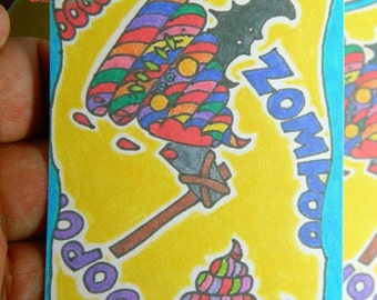 Card #1-99/99 Rainbow VooPoo. ACEO. ATC. Hand Drawn Prints. Collectors card. Trading card.