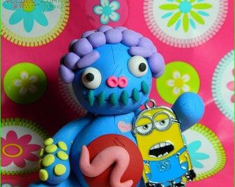 Mike McYellow.  Miniature Minion Voodoo Doll. Hand Sculpted polymer clay figurine