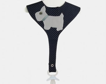 "Bib ""dog"" with pacifier holder"