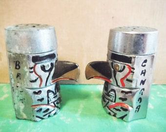 Thunderbird salt and pepper shakers metal banff canada souvenir mid century shabby unusual vintage totem pole