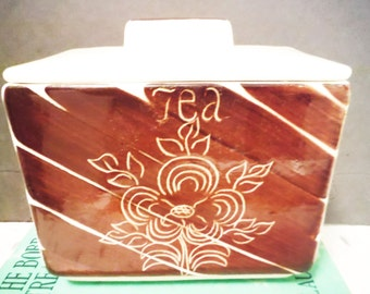 Vintage tea box storage canister ceramic lidded brown and white mid century chase hand painted