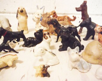 Ragtag bag of dogs figurines vintage collectible instant collection celluloid wood ceramic