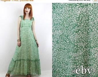 Vintage 70s Green Floral Maxi Dress XXS XS Hippie Dress Hippy Dress Festival Dress Floral Dress 70s Maxi Dress Summer Dress Boho Dress