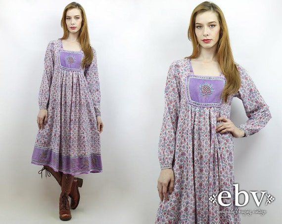 Vintage 70s Hippie Prairie Girl Wedding Dress Gown S M: Indian Dress India Dress Hippie Dress Hippy Dress Boho Dress