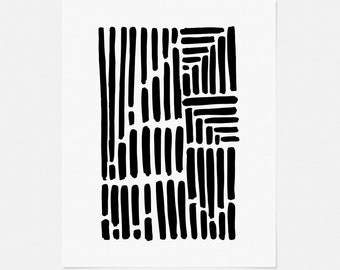 Black and White Abstract Art Print - Simple Pen and Ink Drawing - Vertical Wall Art - 5x7, 8x10, 11x14