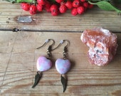 Rhodonite pink and grey heart and brass angel wing dangle earrings