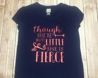 Toddler Though She Be But Little Navy Tee