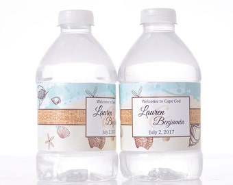 """Beach Wedding Decor - 30 Wedding Water Bottle Labels - Need a different quantity? Click on the """"choose total"""" tab to see all pricing"""