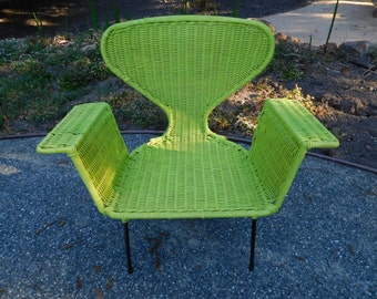 Vintage 60's Wicker Chair Mod Style UpCycled Bright Green Nice Condition