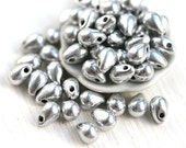 Silver drop beads, Tiny teardrops, czech glass, small silver beads for jewelry making - 4x6mm - 50Pc - 0470