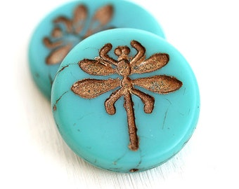 Dragonfly beads - Old Patina, Turquoise czech glass beads, large, round, tablet shape, rustic - 23mm - 2Pc - 2599