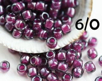 TOHO Purple Seed beads, size 6/0, Inside Color Grey Magenta Lined, N 1076, japanese seed beads - 10g - S623