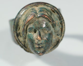 Vintage 50s Ring Bronze Ring Womans Face Ring Copy of An Antique Ring Size Ring Approx 7.20 US