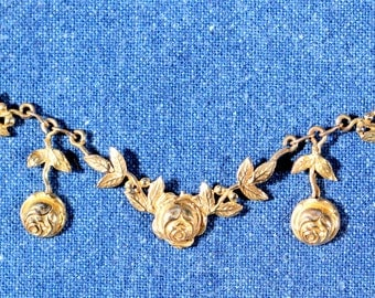 Antique Necklace Gold Plated Necklace Floral Necklace Roses Necklace Dangle Necklace French Edwardian Jewelry