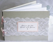 Grey & Blush Lace Wedding Guest Book, Advice for Bride and Groom, Wedding Guest Book, Grey Blush Wedding, Advice for Bride and Groom Book