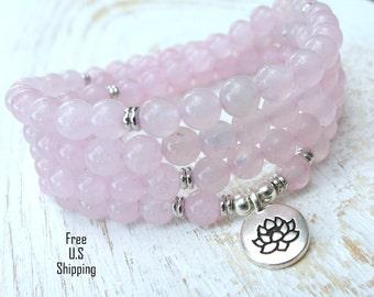 Rose Quartz Mala, 108 beads, Mala Bracelet or Necklace, Reiki, Buddhist Rosary,Prayer beads, Gemstone, wrist mala, Lotus, buddha, ohm, om