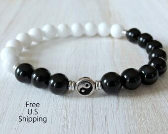 Yin Yang bracelet, Rainbow obsidian, Mountain Jade, Yin Yang mala, balance bracelet, black and white, wrist mala, Jade bracelet, mala