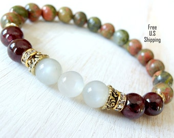 Moonstone, Garnet, Unakite, Yoga Bracelet, Fertility bracelet, gemstone bracelet, Healing bracelet, reiki bracelet, moonstone bracelet