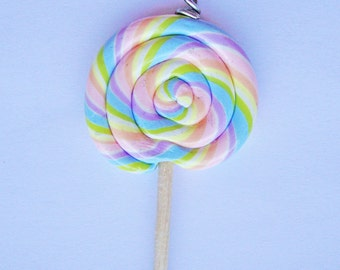 Pastel Rainbow Lollipop Charm
