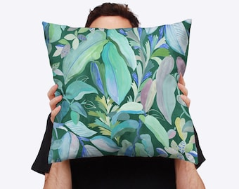 Greenhouse Wild Foliage Digitally Printed Cotton Linen Throw Cushion Cover