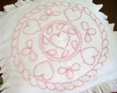 Vintage Pillow Sham, Pink Hearts, Raised Embroidery, Ruffled