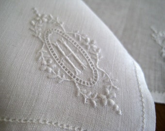 """Vintage Handkerchief  Monogrammed """"H"""", Linen Hanky, White Embroidery, 1 Available"""
