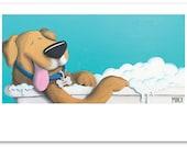 Funny Dog Art Print, Dog Lover, Vet Office Art, Veterinarian Decor, Happiness Art, Dog Humor, Pet Owner Gift, Bathroom Art, Vet's Gift