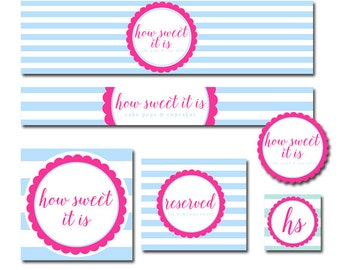 Custom Etsy Shop Set  Premade Etsy Banner Avatar Set for Small Crafty Boutiques Blue Stripes with Scalloped Hot Pink Frame Whimsical Chic