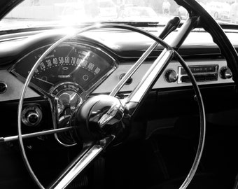 Black & White Photography, Chevrolet Photography, Chevy Bel Air, Vintage Car Photo, Photo by Abby Smith, Man Cave, Automotive Photo