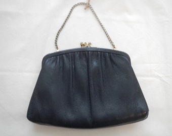 Mid-Century Ande Leather Purse with Gold Chain Navy