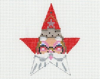 Needlepoint Santa Ornament - Small Star Santa