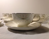 Eight 8 Cups and Saucers, and Four 4 B&B Plates, Homer Laughlin HLC Modern Star MCM