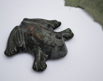 Green Glass Frog Paper Weight