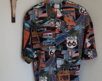 CAMP Clerical shirt nostalgic Route 66 print, all cotton, Made to order select your size & TAB Collar or FullBand ready Untucked style