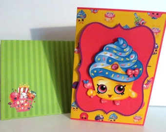 Shopkins birthday card with matching envelope.