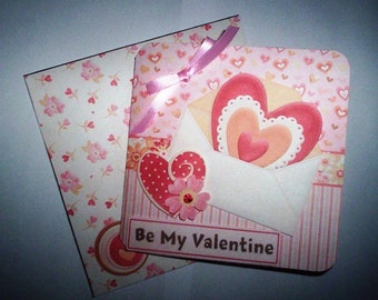 Handmade with love Valentine card with matching envelope.