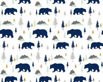 Bear Crib Sheet - Woodland, Pines, Mountains, Navy