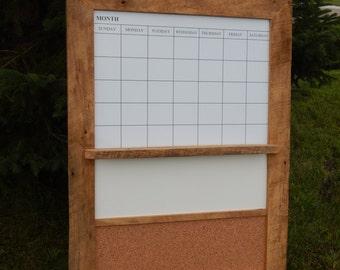 CUSTOM MADE -- Barnwood Framed Message Center with Magnetic Dry Erase Calendar, Dry Erase or Chalkboard and  Corkboard