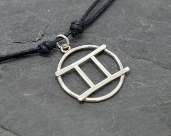 Gemini zodiac sign necklace sterling silver
