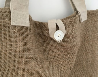 Oversized burlap tote bag- beach bag