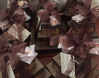 Wedding or Corporate GIFT ORDER 3 Tier Gift Boxes, Cashew Turtle, 4 Jar Pies, Chocolate Pretzels, Beer Lollipops  30