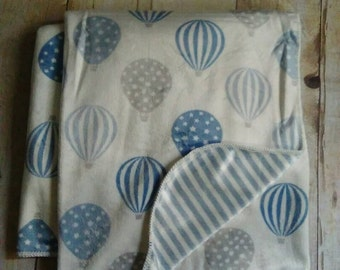 Custom Personalized Baby Blanket Hot Air Balloons