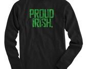 LS Proud Irish Tee - Long Sleeve Ireland T-shirt - Men and Kids - S M L XL 2x 3x 4x - Irish Shirt, Eire, Pride - 4 Colors