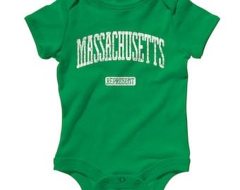Baby One Piece - Massachusetts Represent - Infant Romper - NB 6m 12m 18m 24m - Baby Shower Gift, Massachusetts Baby, Harvard Baby, Boston MA