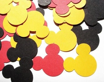 200 mickey mouse confetti pieces. Mickey mouse die cut. Mickey mouse scrapbooking die cut, tag decoration, party favor decoration.